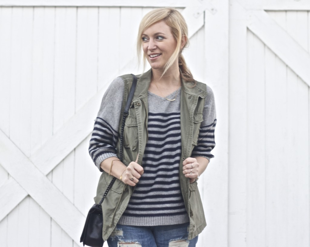 Old Navy Vest, Striped Sweater