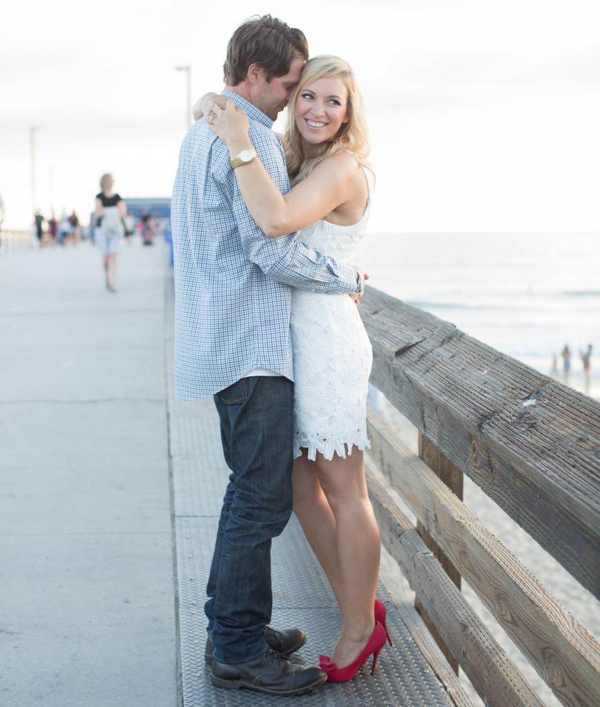 Engagement photos, white lace dress, newport beach engagement photos