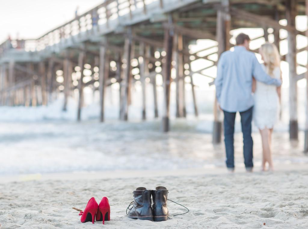 engagement photos, newport beach pier, red heels