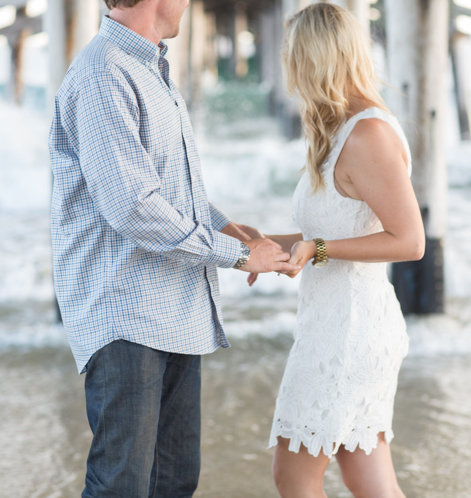 white crochet dress, beach engagement photos