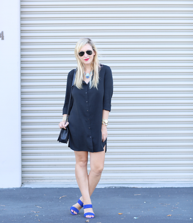 black shirtdress for fall