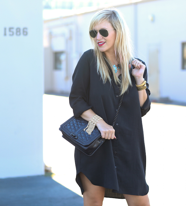 wayf black shirt dress