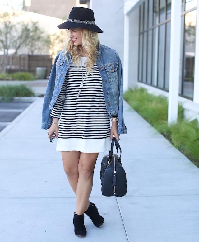 striped fall dress