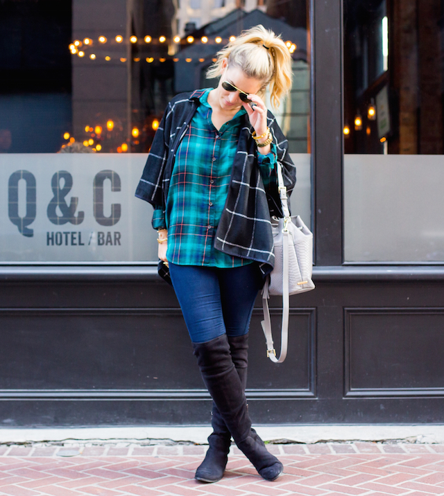 plaid on plaid cape
