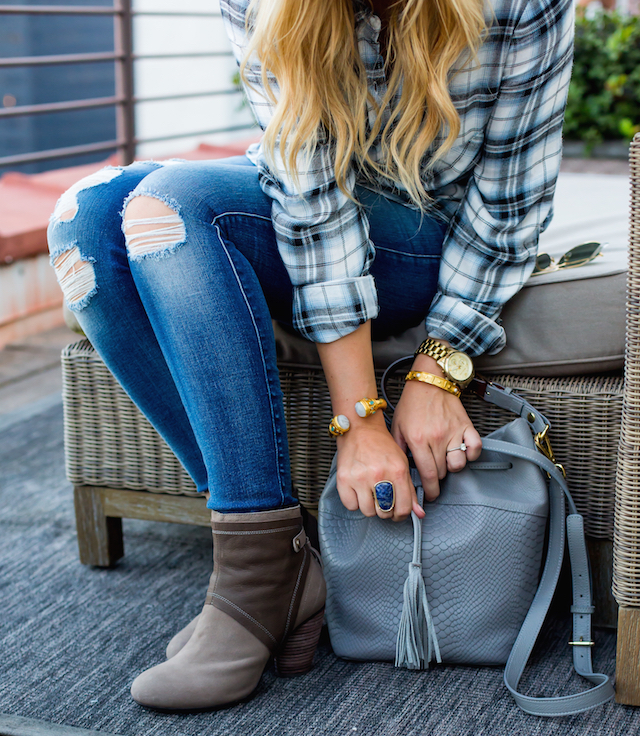 jeans and a plaid