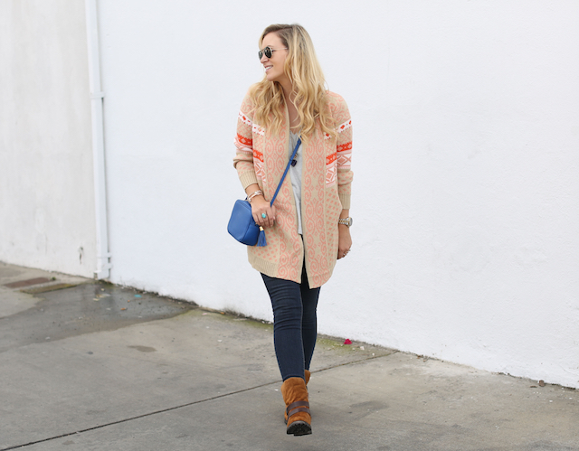 skinnies and a cardigan