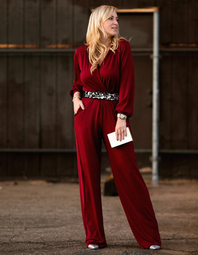 burgundy jumpsuit