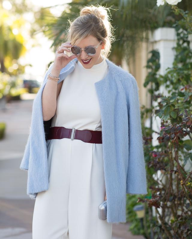 burgundy and light blue