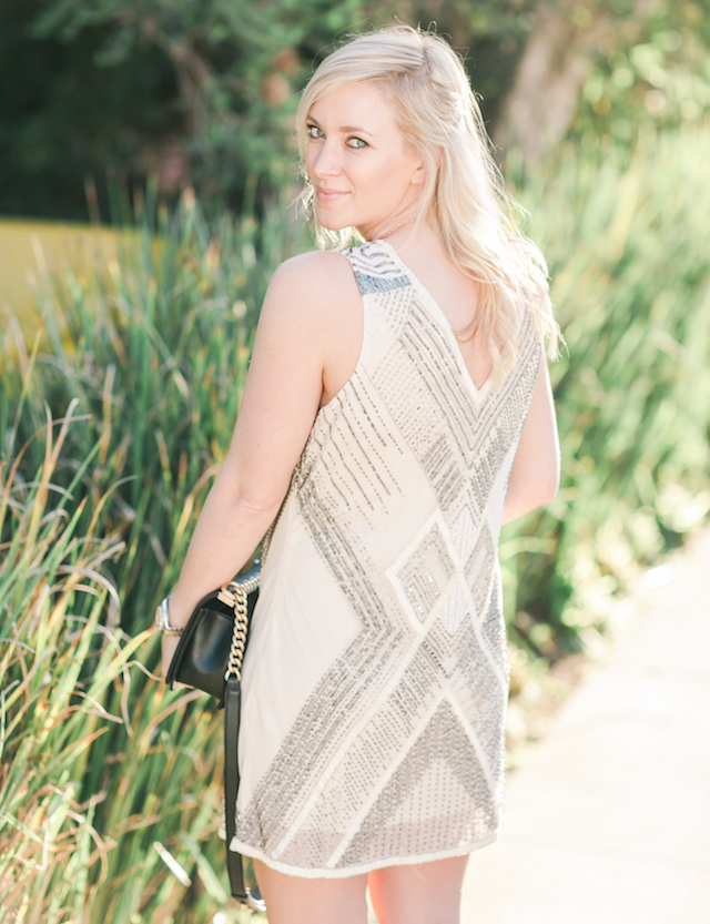 neutral beaded dress