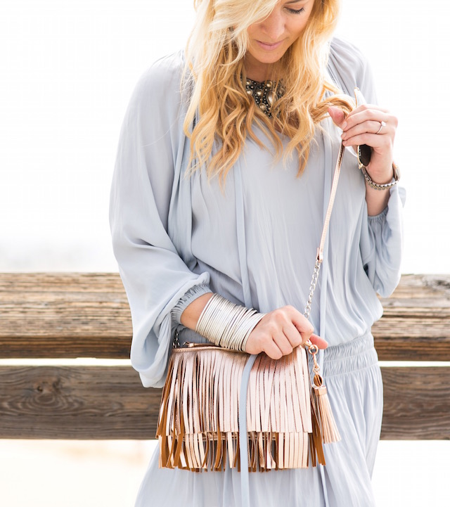 rose gold fringe bag
