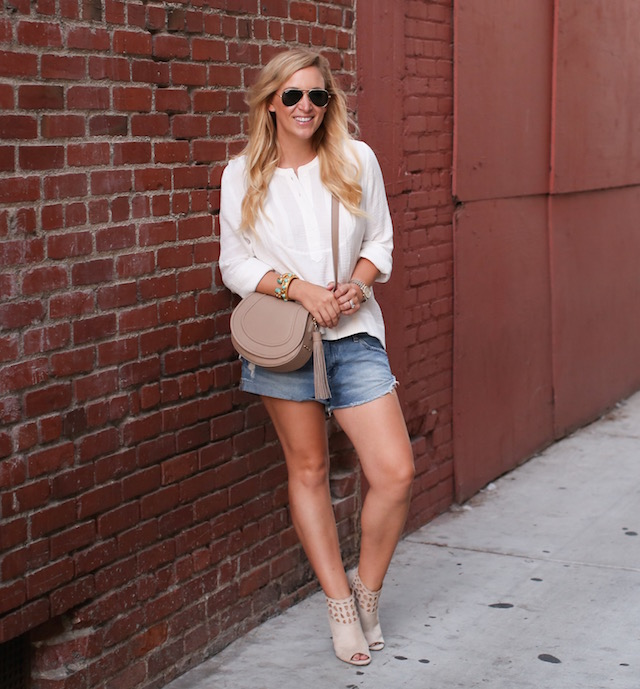 jean shorts and suede booties