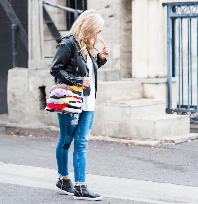 Fashion blogger Nikki Minton of My Style Diaries shares easy budget basics - distressed denim, faux leather jacket, leather sneakers, and a versatile tee - that are all under $100.