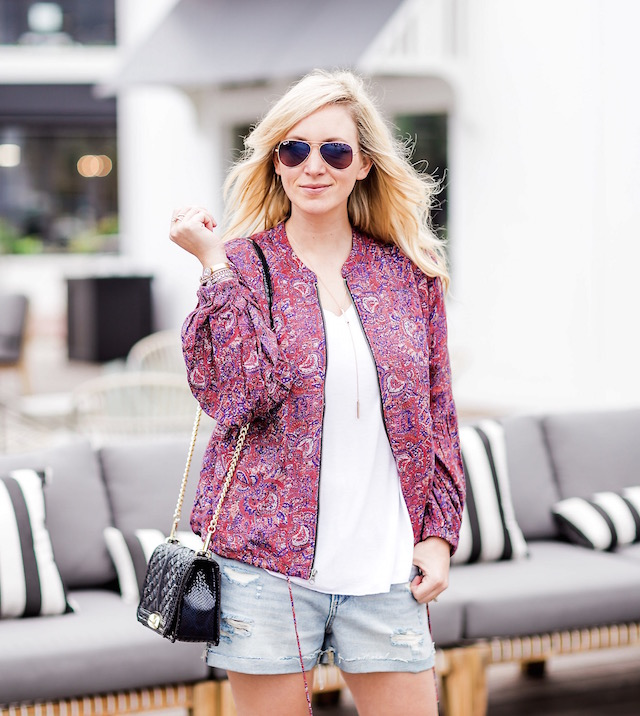 Orange County fashion blogger Nikki Prendergast of My Style Diaries wears denim shorts and a Free People spring bomber.