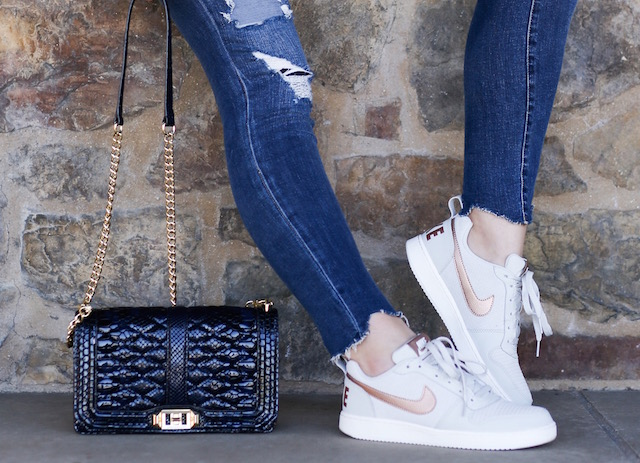 Orange County fashion blogger Nikki Prendergast of My Style Diaries wearing Blank NYC jeans and sneakers.