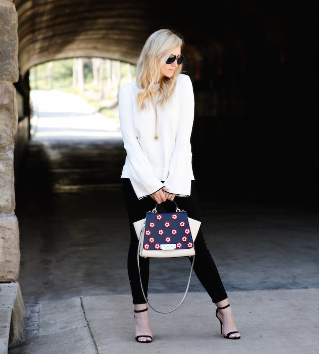 Orange County fashion blogger Nikki Prendergast of My Style Diaries wearing a Who What Wear X Target sweater and the best high rise black skinny jeans.