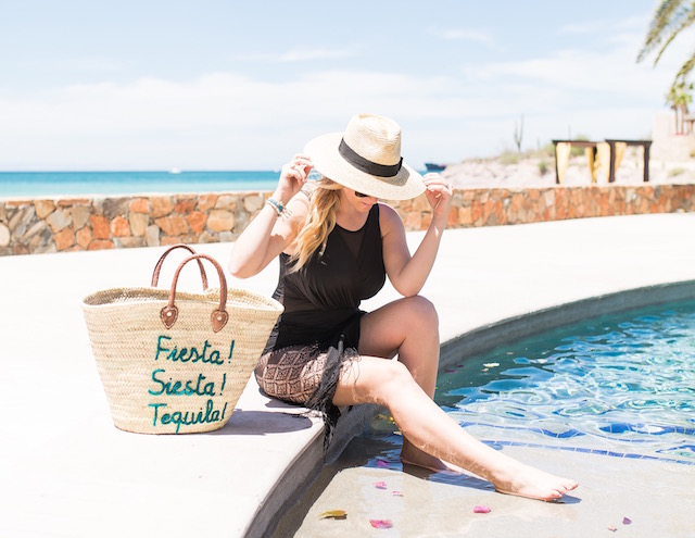 Orange County fashion blogger Nikki Prendergast of My Style Diaries wears a Miraclesuit swimsuit at the Residences at Playa de La Paz in Mexico.