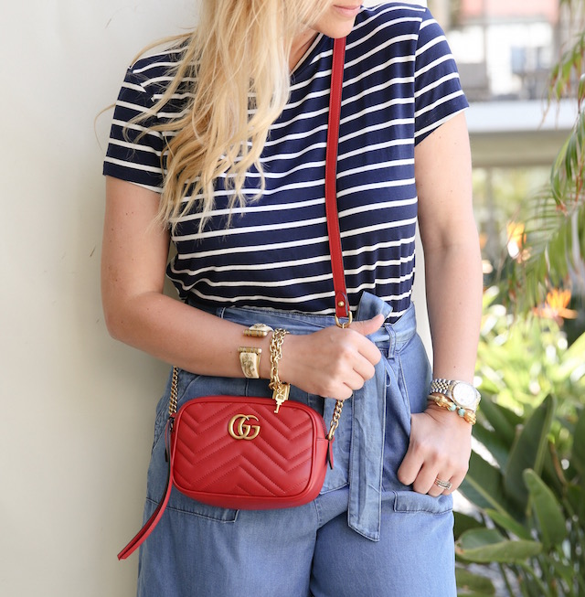 Amour Vert tee and chambray culottes + Tory Burch mules + Gucci Marmont handbag