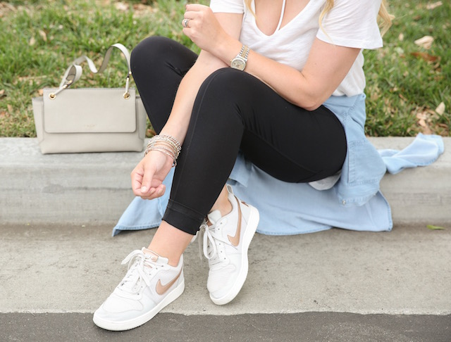 JoFit leggings + Nike sneakers + Henri Bendel bag