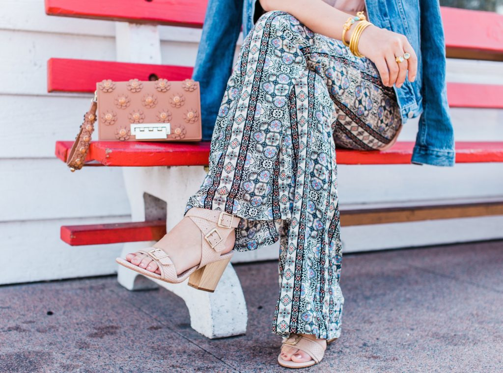 Wide leg printed pants + Isola sandals + Zac Zac Posen clutch