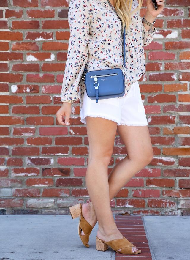 Amour Vert silk blouse + Henri Bendel bag + Bella Dahl shorts + Sigerson Morrison slides