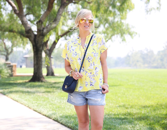 Easy denim shorts and the best yellow blouse for summer