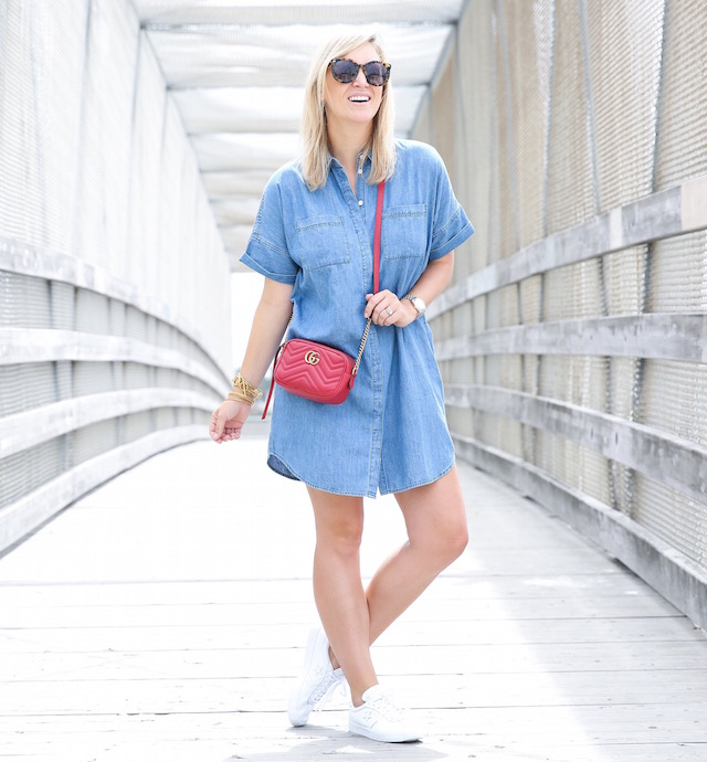 Madewell denim dress + Converse sneakers + Gucci Marmont bag