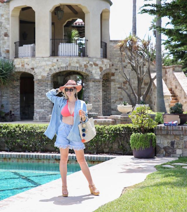 Becca swimsuit + Zara shorts + JoFit chambray shirt
