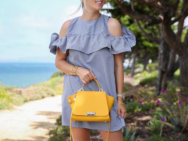 Gingham dress + Zac Zac Posen bag