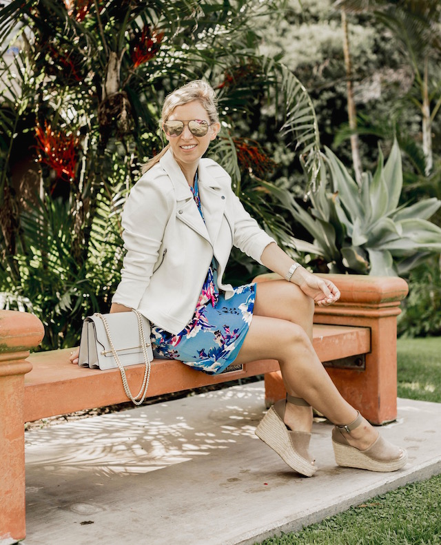 Fashion and lifestyle blogger Nikki Prendergast of My Style Diaries in Charles Henry dress, Marc Fisher wedges, Catherine Catherine Malandrino jacket and a Strathberry handbag.