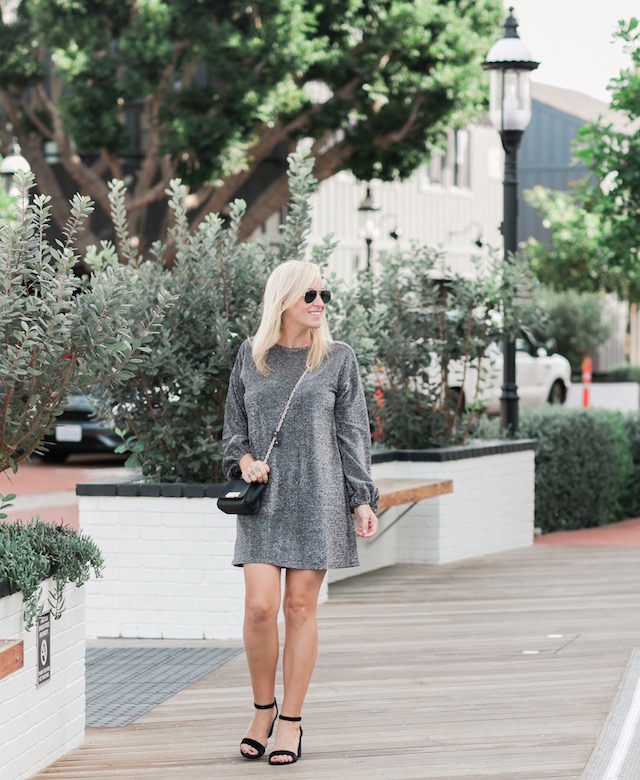 Metallic holiday dress under $100