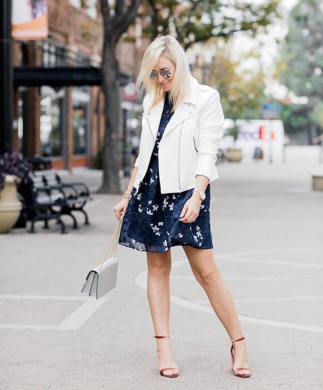 Aqua navy floral dress + Strathberry handbag + velvet heels