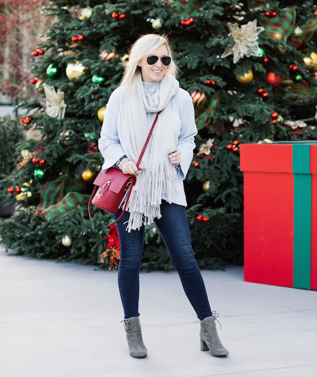 High rise skinny jeans, LOFT sweater, Free People scarf, Zac Zac Posen bag, Ono booties