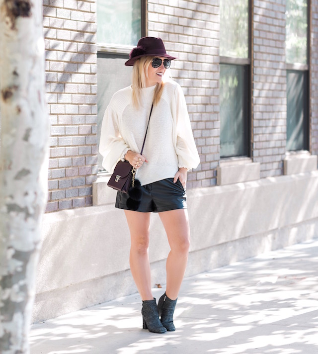 Leather shorts + Free People sweater + Marc Fisher booties + Henri Bendel handbag