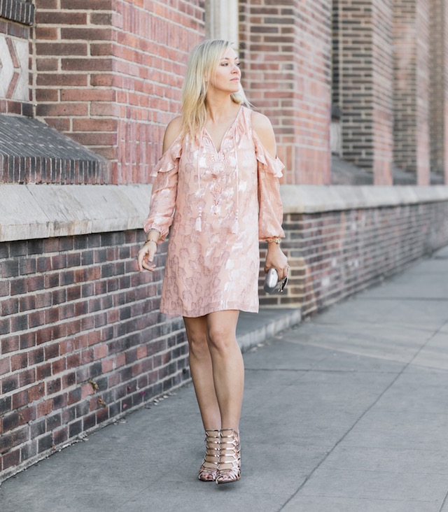 Lilly Pulitzer metallic embroidered dress, rose gold heels, silver clutch, Ray-Ban aviators