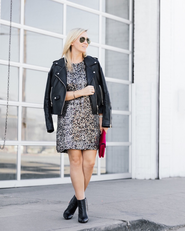 Parker New York sequin dress + Blank NYC faux leather jacket + Loeffler Randall clutch + cabi booties