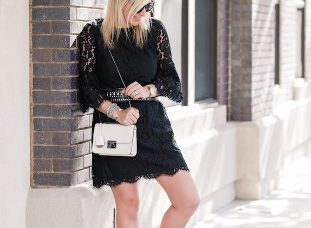 Sail to Sable holiday lace dress, Henri Bendel handbag, burgundy pumps