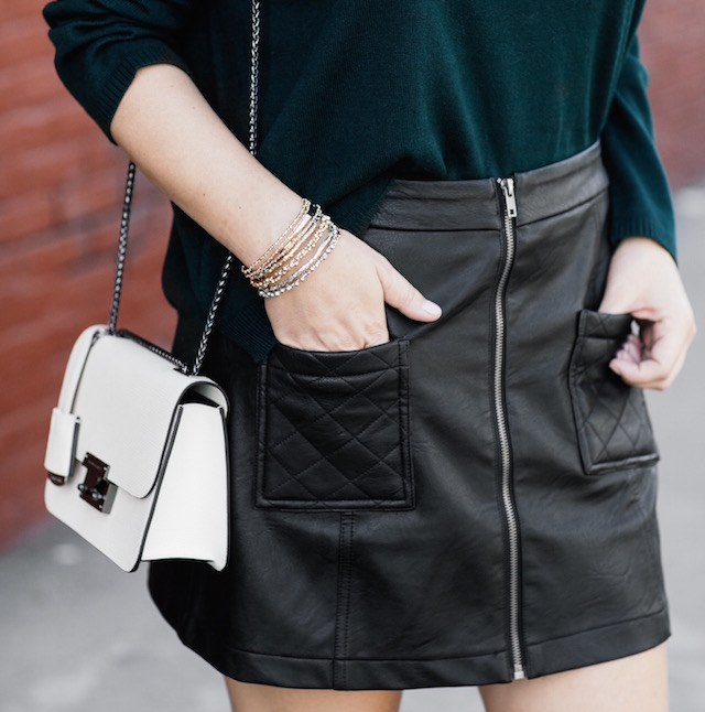 EVIDNT sweater, BB Dakota faux leather skirt, Henri Bendel handbag