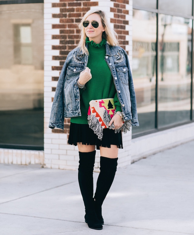 Blank NYC denim jacket, Topshop sweater, BB Dakota skirt, Cleobella clutch