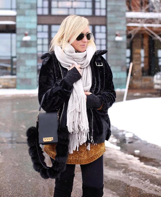 Topshop faux fur jacket, Free People scarf, Zac Zac Posen handbag | Park City, Utah