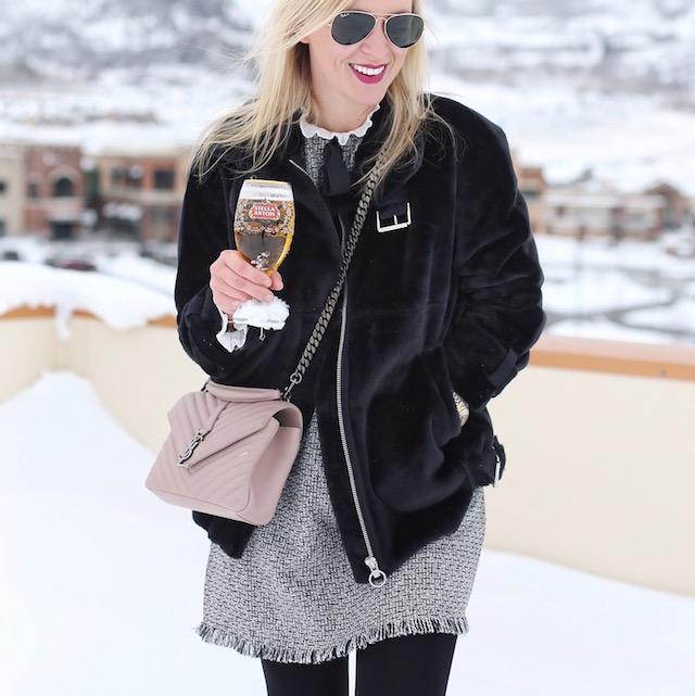 Topshop faux fur jacket, Saint Laurent handbag, Stella Artois | Park City, Utah