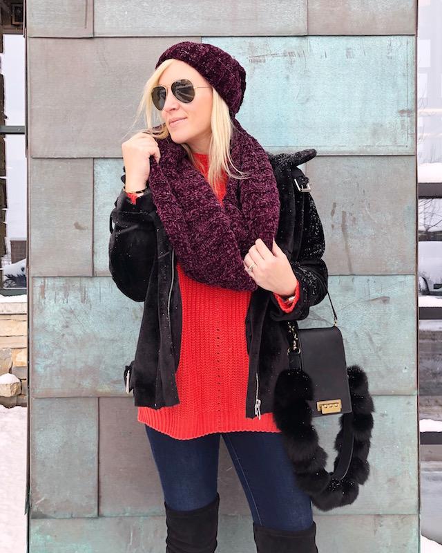 Topshop faux fur jacket, SheIn sweater, Free People scarf, Zac Zac Posen handbag | Park City, Utah