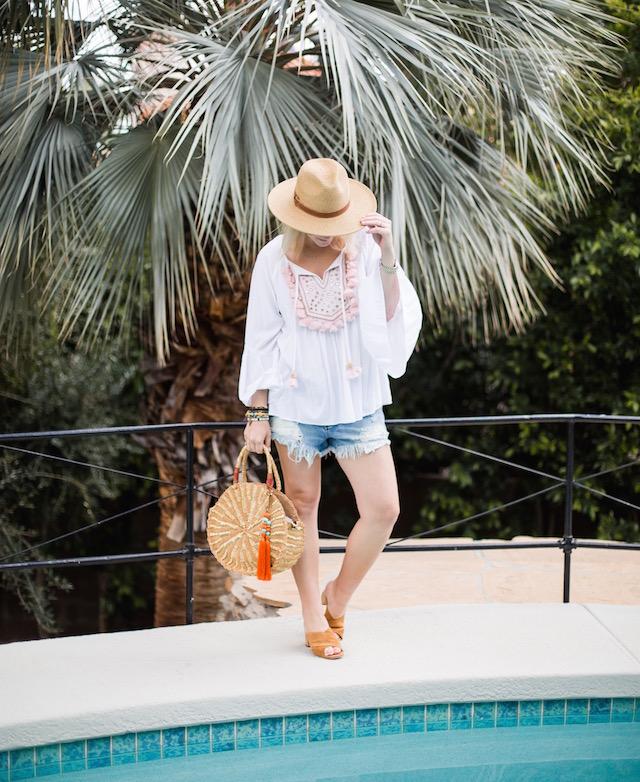 Lilly Pulitzer top, Sam Edelman handbag, Vici hat, Free People denim shorts
