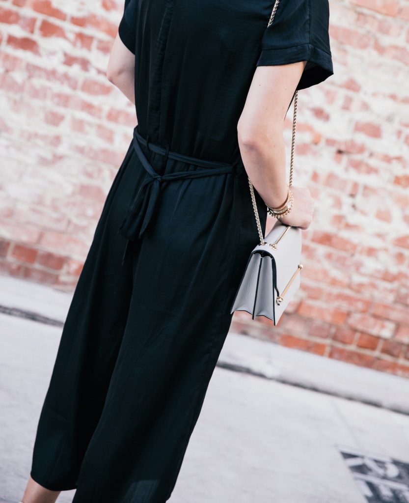 dRA jumpsuit via Anthill Fashion Market, Tamara Mellon heels, Strathberry handbag