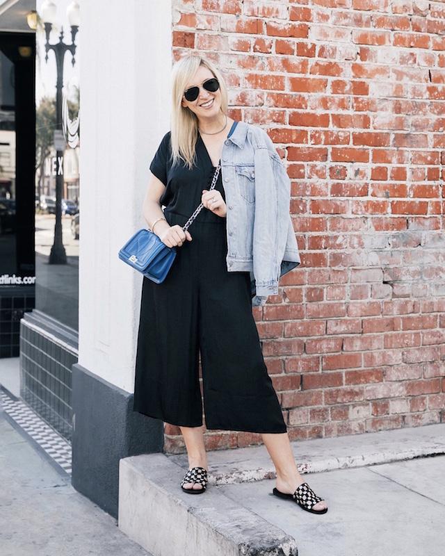 dRA jumpsuit via Anthill Fashion Market, Levi's jacket, Romwe sandals, Sam Edelman handbag