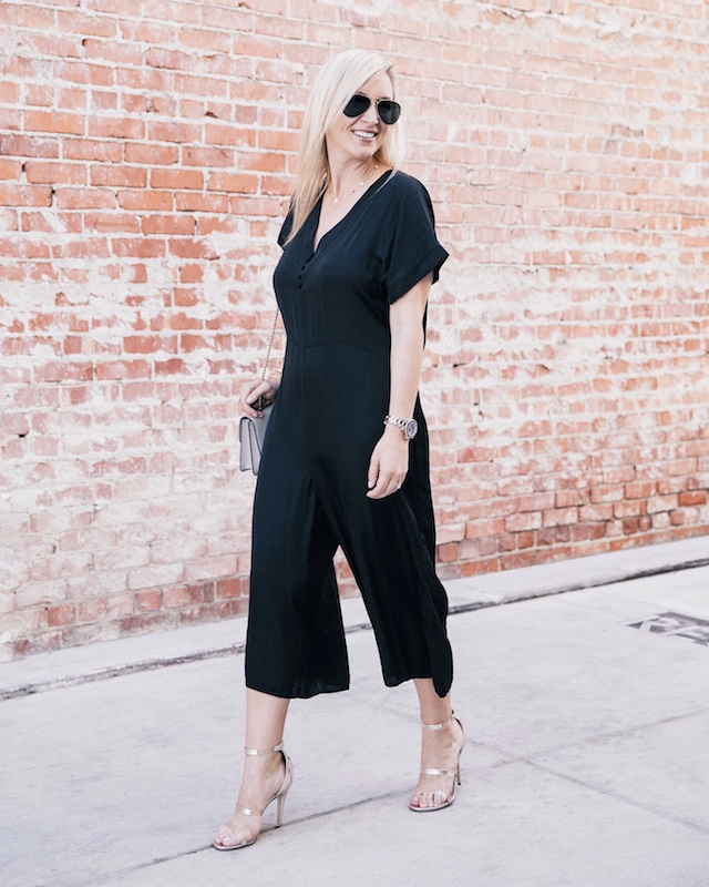 dRA jumpsuit via Anthill Fashion Market, Tamara Mellon heels, Strathberry handbag