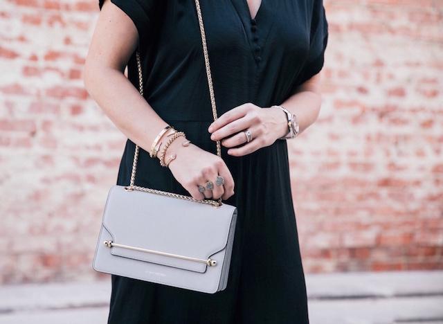 dRA jumpsuit via Anthill Fashion Market, Strathberry handbag