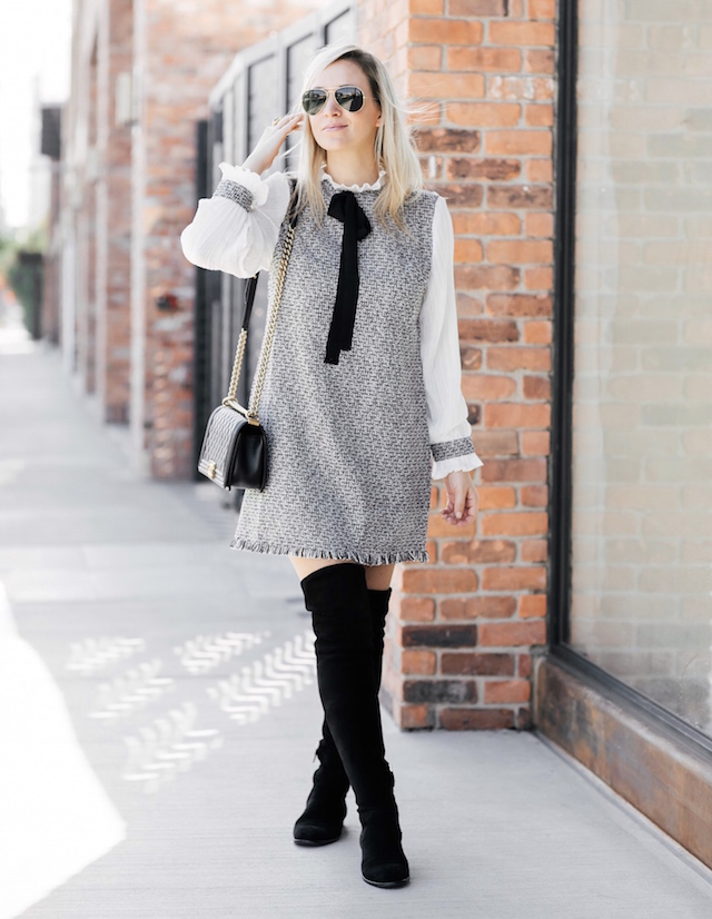 Affordable tweed dress under $30, over-the-knee boots, Chanel Boy Bag | SoCal style blogger Nikki Prendergast of My Style Diaries