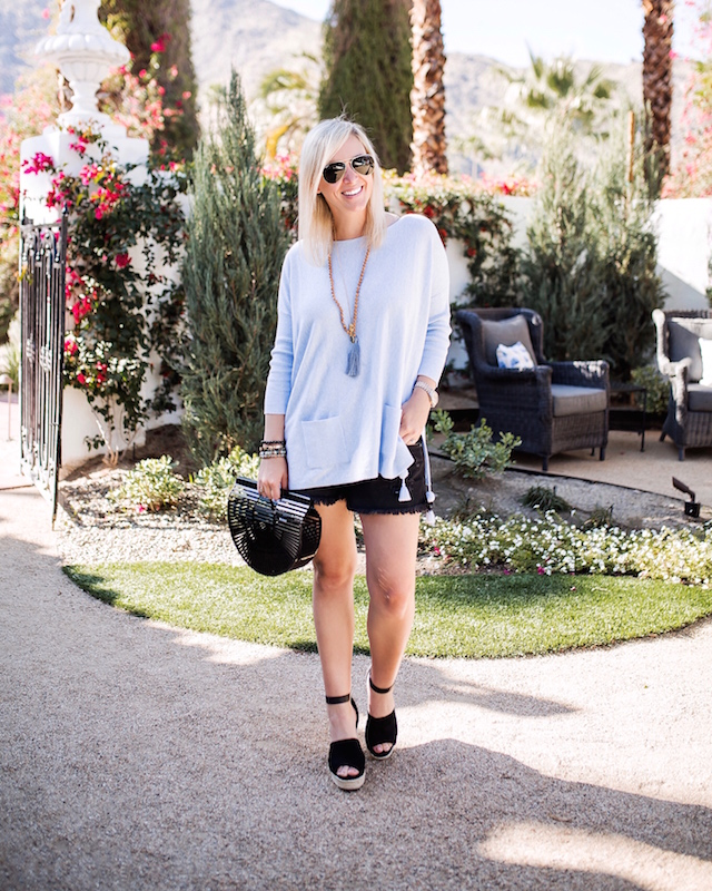Lilly Pulitzer sweater, BP shorts, Cult Gaia bag at the Ingleside Inn in Palm Springs, CA