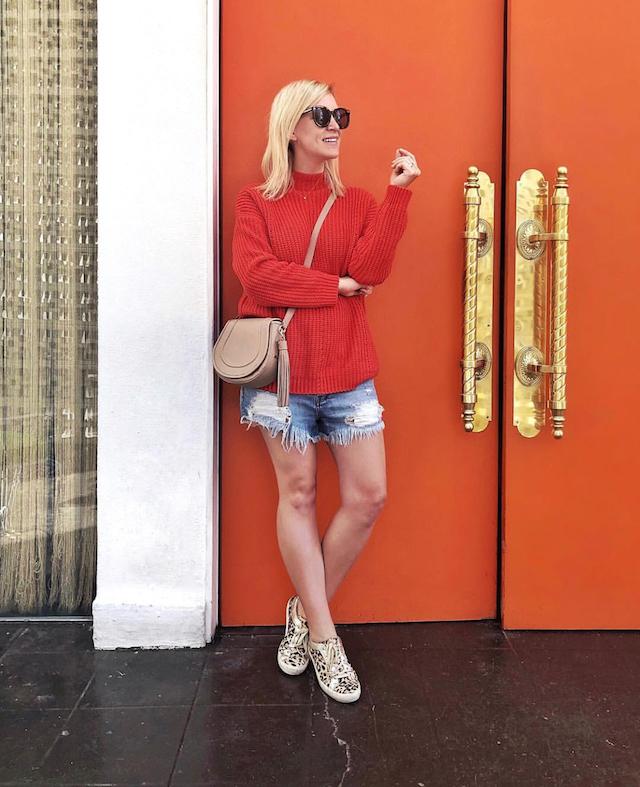 Orange doors at the Parker Palm Springs
