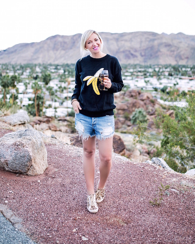 Banana print sweater and Free People shorts in Palm Springs, CA